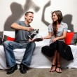 Stock Photo: Domestic abuse shadow play family and social issue