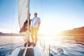 Sunrise sailing boat — Stock Photo