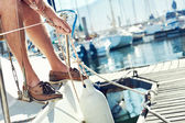 Sail boat yacht mooring — Stock Photo
