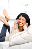 Pretty woman with telephone — Stock Photo