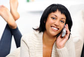 Happy woman with phone — Stock Photo