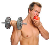 Exercise and fruit — Stock Photo