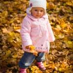Infant baby girl in golden autumn park — Stock Photo #14246691