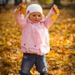 Infant baby girl in golden autumn park — Stock Photo #14246695