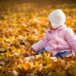 Infant baby girl in golden autumn park — Stock Photo #14246715