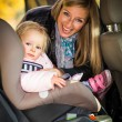 Infant baby girl in car seat — Stock Photo #14246721