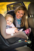 Infant baby girl in car seat — 图库照片
