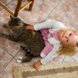 Child with a cat — Stock fotografie