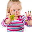 Child painting with fingers isolated on white — Stock Photo #37027821
