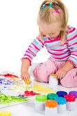 Child painting with fingers isolated on white — Stock Photo