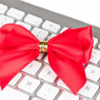 Royalty-Free Stock Photo: Keyboard with red bright bow.