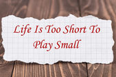 Life Is Too Short To Play Small — Stock Photo