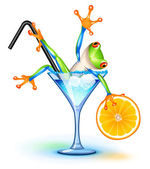 Cocktail Frog — Stock Vector