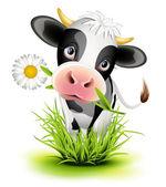 Vaca holstein en pasto — Vector de stock