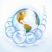 Blaue Perlen Erde Amerika — Stockvektor