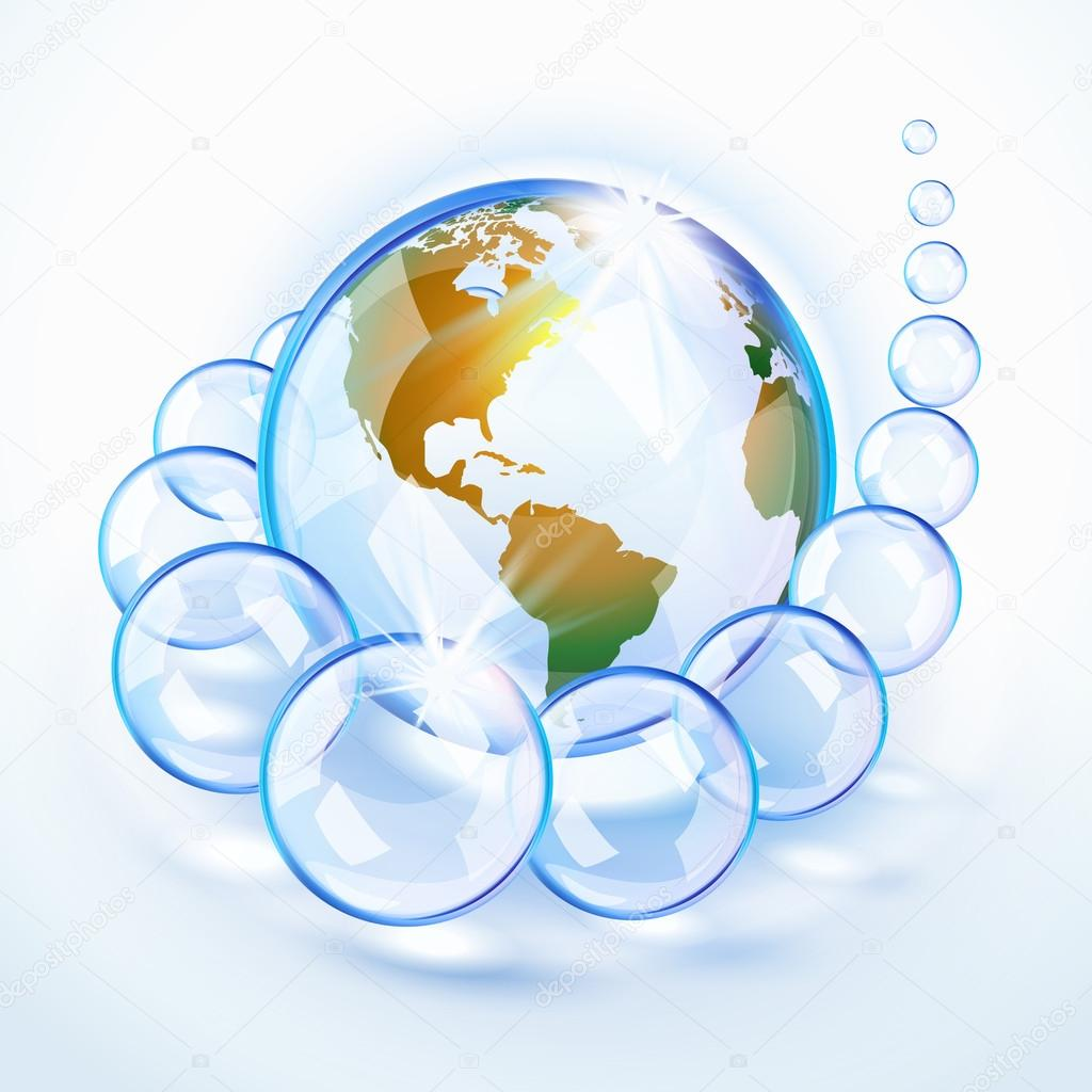 Blue bubbled Earth surrounded by crystal bubbles revealing America  Stock Vector #17162653