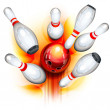 Bowling game (top view) — Stock Vector