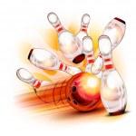 Bowling ball crashing into the shiny pins — Stock Vector #20049565
