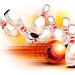 Bowling ball crashing into the pins — Stock Vector #26271083