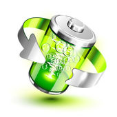 Green battery full level indicator — Stock Vector