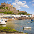 Stock Photo: Gorey and Mont Orgueil Castle in Jersey