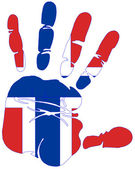 Norway flag handprint — Stock Photo