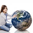Stock Photo: Checking the planet health