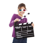 Girl with 3D glasses and a clapboard — Stock Photo