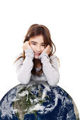 Girl with the planet earth — Stock Photo