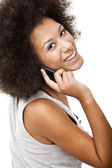 Beautiful woman at cellphone — Stock Photo