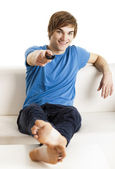 Man with a remote control — Stock Photo
