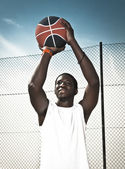 Playing basketball — Foto Stock