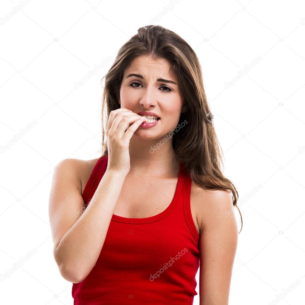 Woman Biting Her Nails