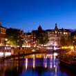 Stock Photo: Amsterdam channels at night