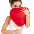 Girl with a red balloon — Stock Photo