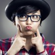Funny female Nerd — Stockfoto