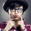 Funny female Nerd — Stock Photo