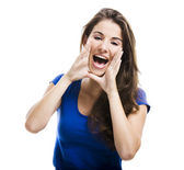 Beautiful woman shouting — Stok fotoğraf