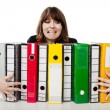 Stock Photo: Womholding folders