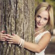 Embracing a tree — Stock Photo