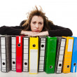 Woman holding folders — Stock Photo