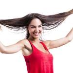 Woman grabbing her hair — Stock Photo #25882043