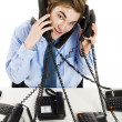 Answering multiple calls at the same time — Stok fotoğraf
