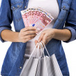 Woman,shopping bags and Euro — Stock Photo