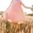 Preety woman on a meadow — Stock Photo
