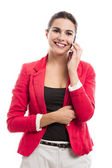 Business woman talking at phone — Stock Photo
