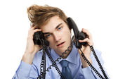 Answering multiple calls at the same time — Stock Photo