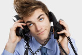 Answering calls — Stock Photo