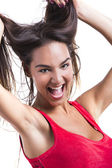 Woman grabbing her hair — Stock Photo