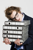 Business man carrying folders — Stock Photo